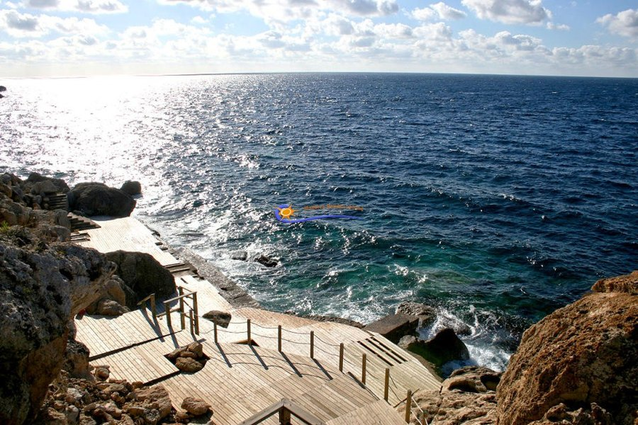 Bathing platform at the Mallorcan coast near Bahia Blava